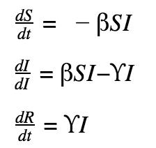 Ecuaciones diferenciales dSdt= -βSI , dIdI=βSI−ϒI , dRdt=ϒI