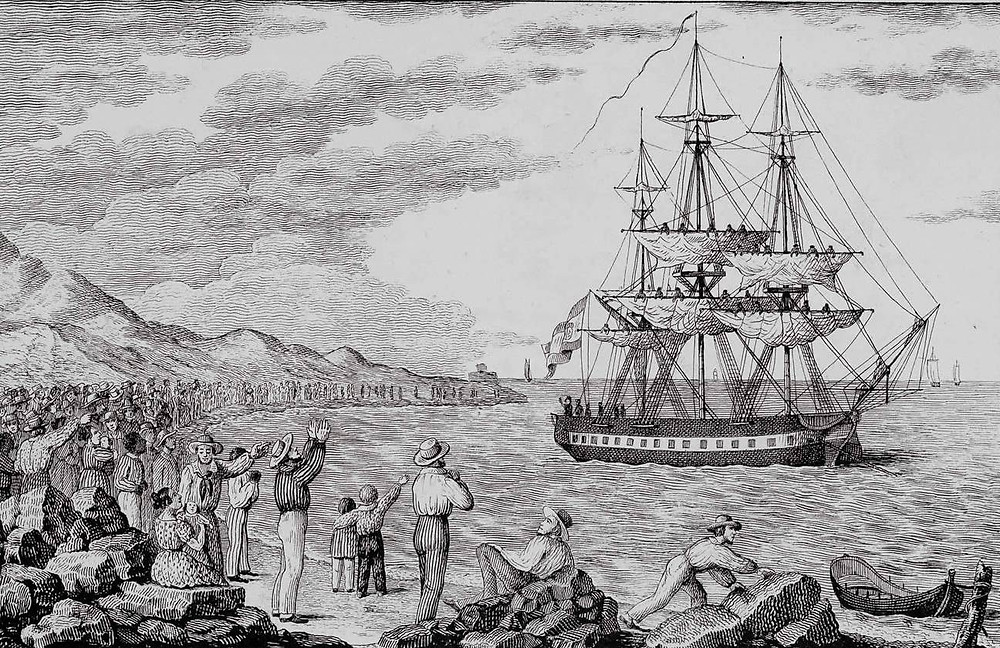 La corbeta María Pita, partiendo de A Coruña