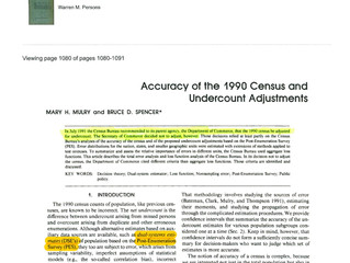 Accuracy of the 1990 Census and Undercount Adjustments