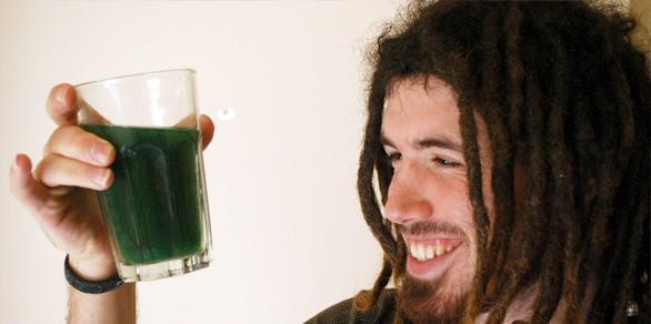 man growing Spirulina