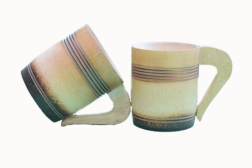 Handmade Bamboo 3 inch Tea Cup with Smoked Finish - 2 piece
