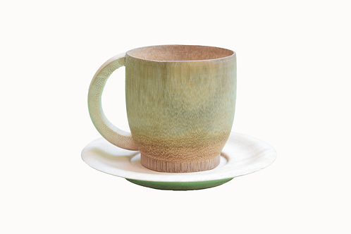 Handmade Bamboo Tea Cup with Saucer - 3 inch with Smoke Finish - 2 pieces