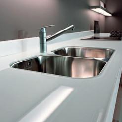 Bancada de vidro branco para cozinha