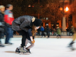 Mother Teaches Daughter to Skate