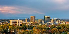 The skyline of Boise Idaho with Autumn t