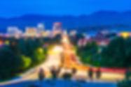 Boise cityscape at night with traffic li