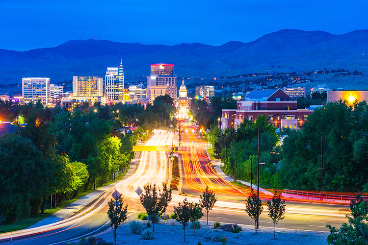 Boise cityscape at night with traffic li