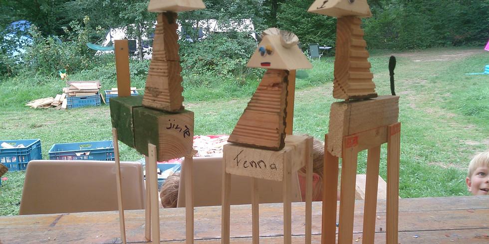 Vakantiepas workshop met hout spijkers en fantasie