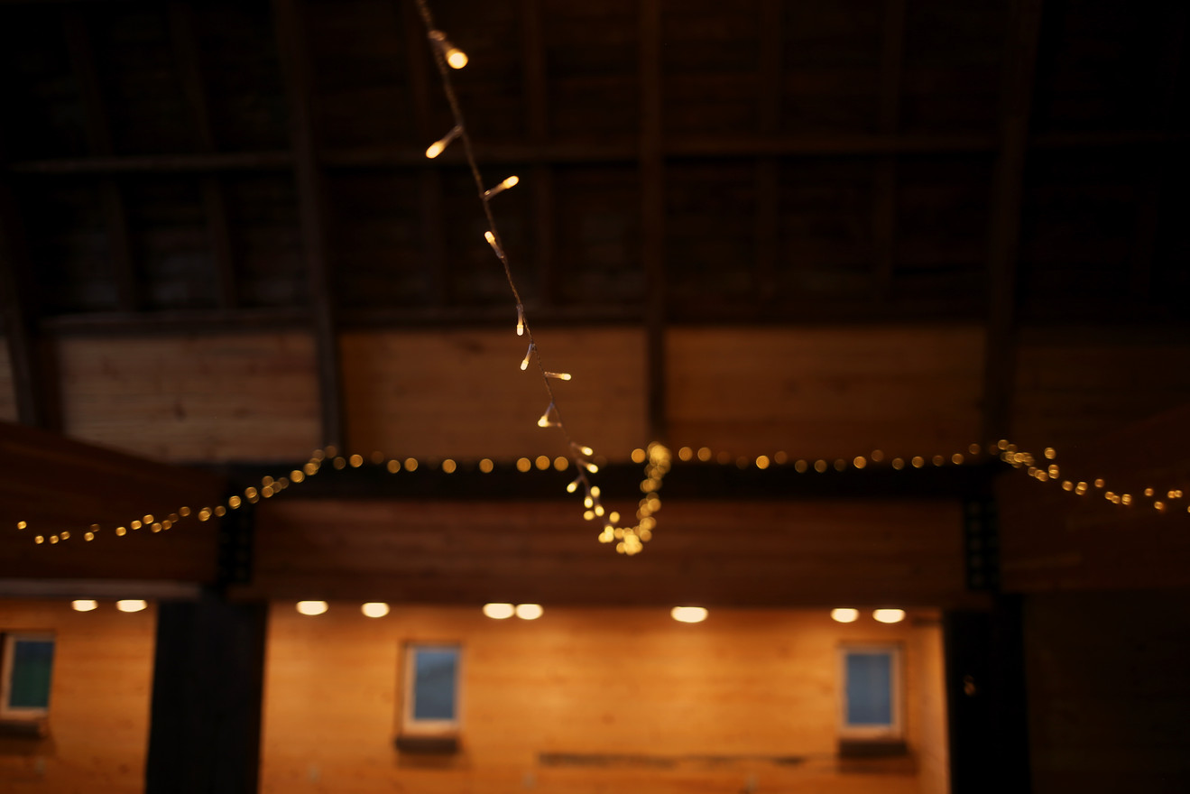 Fairy Lights hung in Main Space at Red Barn Events Center