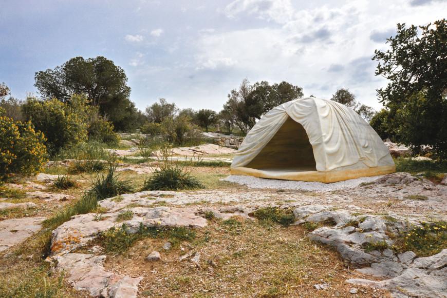 Rebecca Belmore, Biinjiya'iing Onji [From Inside], 2017, marble, installation view, Filopappou Hill, Athens, documenta 14, photo: Fanis Vlastaras