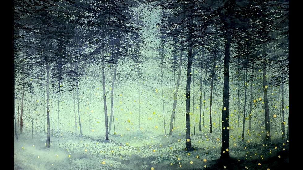 Bioluminescence forest aqua light