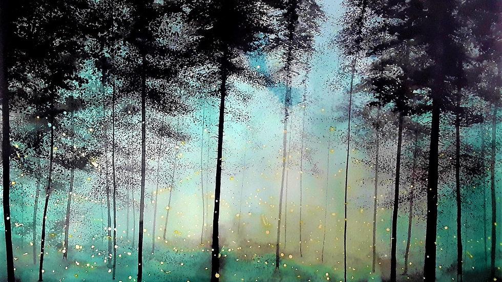 Bioluminescence forest , turquoise horizon