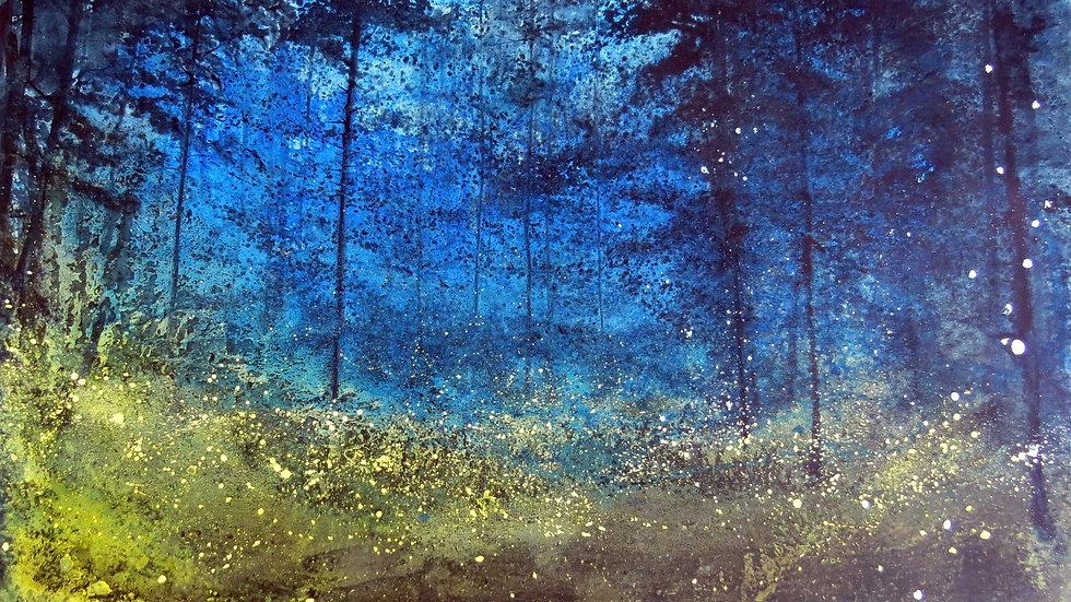 Bioluminescence night blue