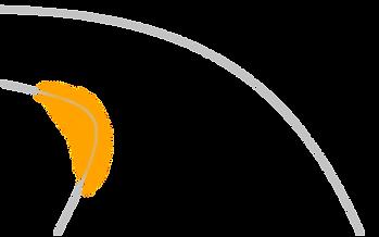 Skizze einer Flussinnenkurve mit eingezeichneter Goldablagerung