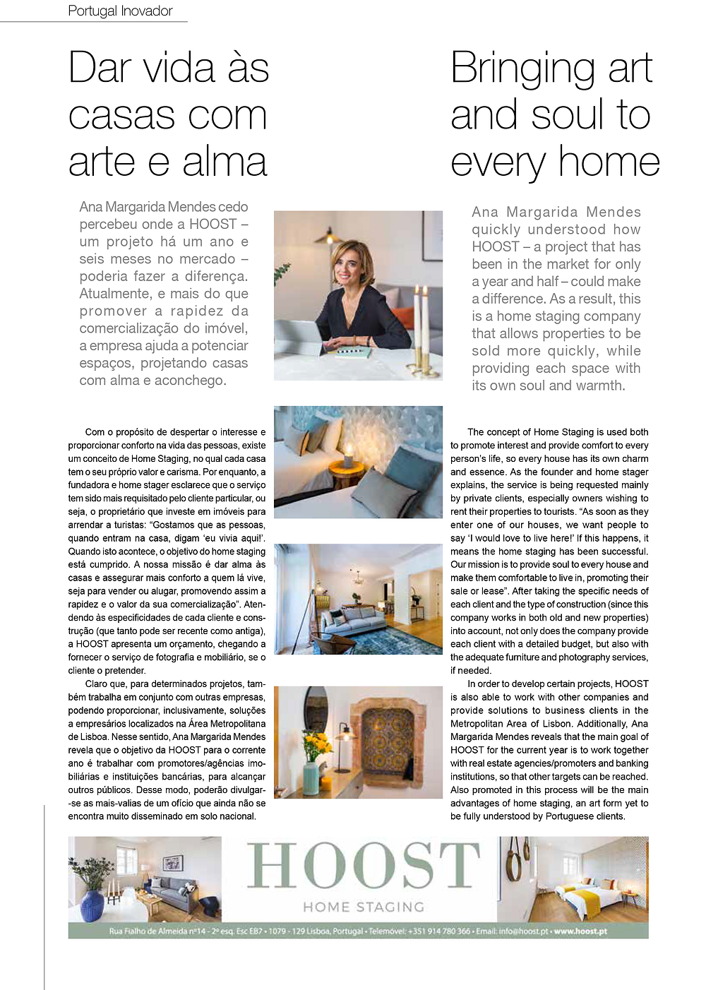 entrevista à HOOST Home Staging na revista Portugal Inovador