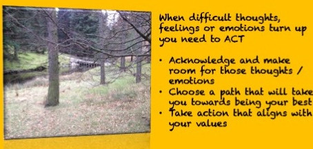 When difficult thoughts, feelings or emotions turn up you need to ACT