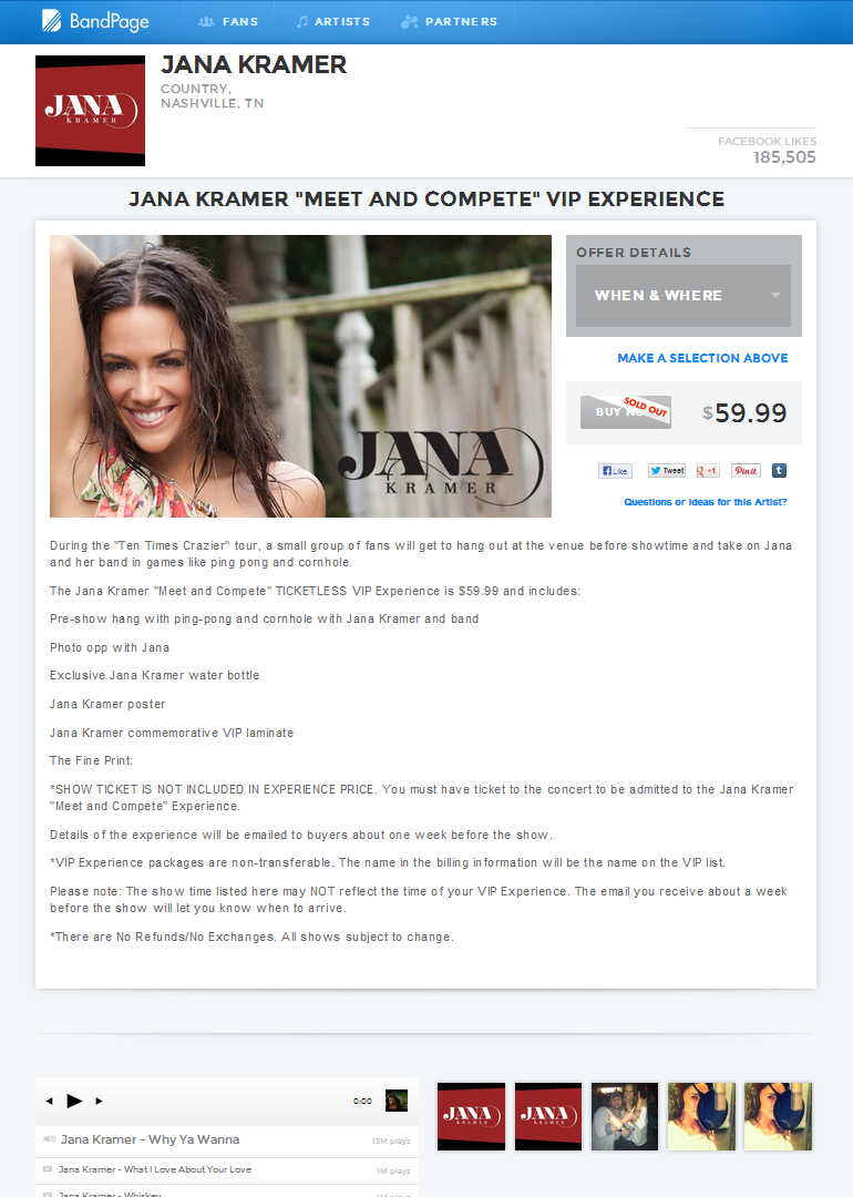 BandPage _ Jana Kramer _Meet and Compete_ VIP Experience _ Jana Kramer
