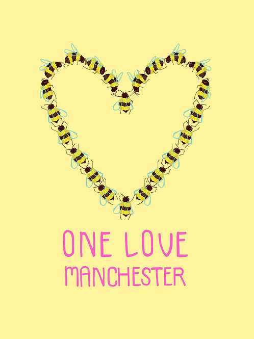 One Love Manchester print A4