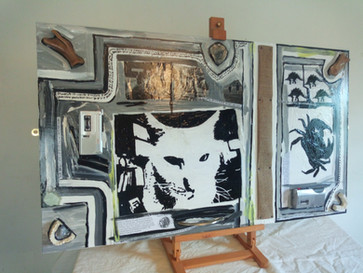 Dual tape intersection feline proximity sound painting nearly black and white