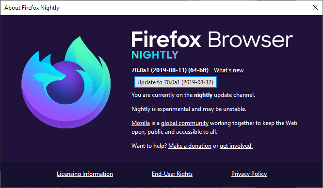 Firefox Nighly Browser