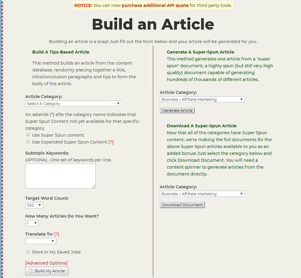 article builder dashboard