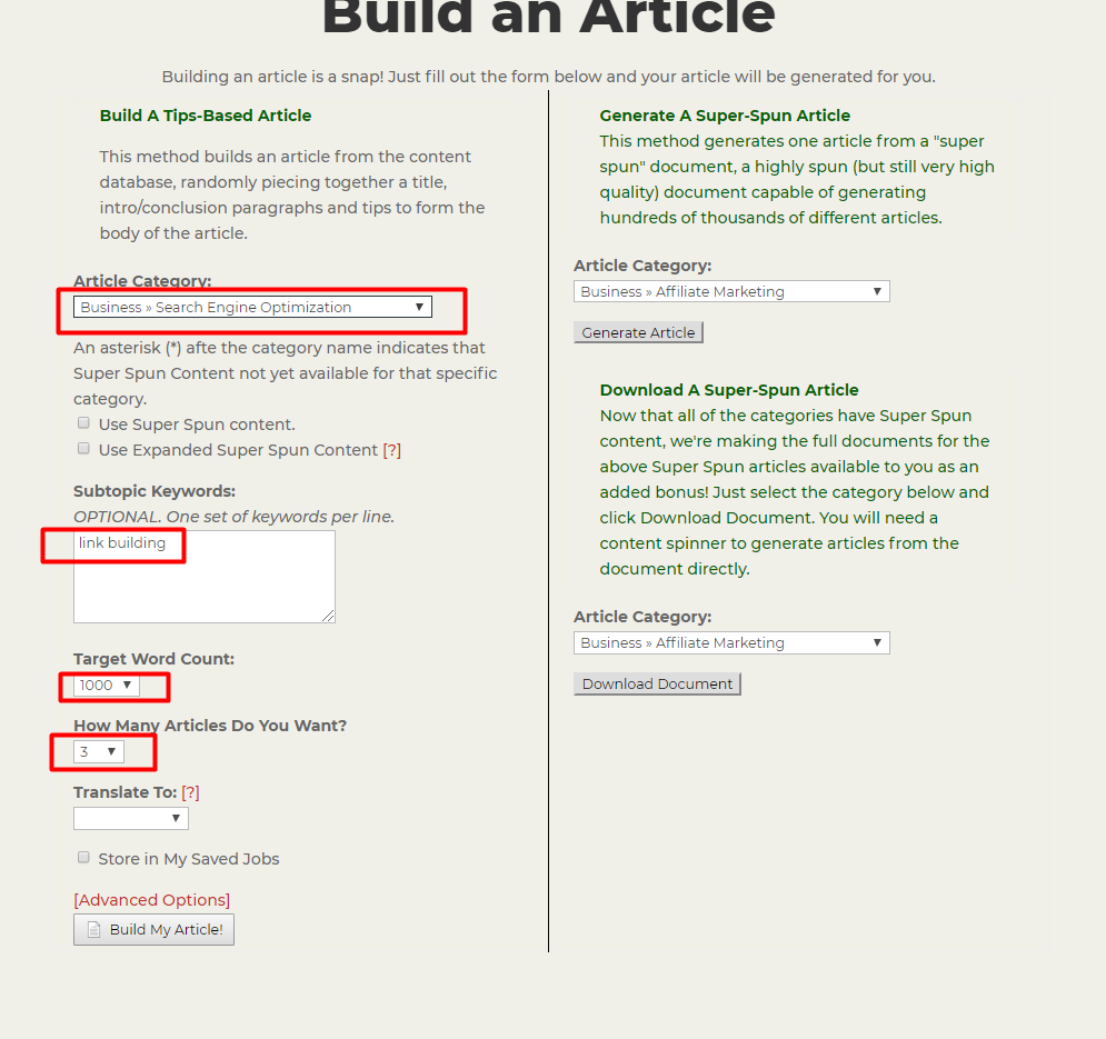 article builder content