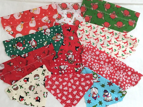 Dog Bandanas, Christmas Dog Bandanas, Dog Slider Bandanas, Cotton, Value, Dog Grooming, UK Handmade