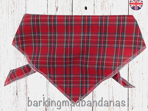 Red Tartan Dog Bandanas UK, Red Tartan Dog Bandana UK, Red Tartan Dog Scarf, Red Tartan Neckerchief for Dogs, West Highland
