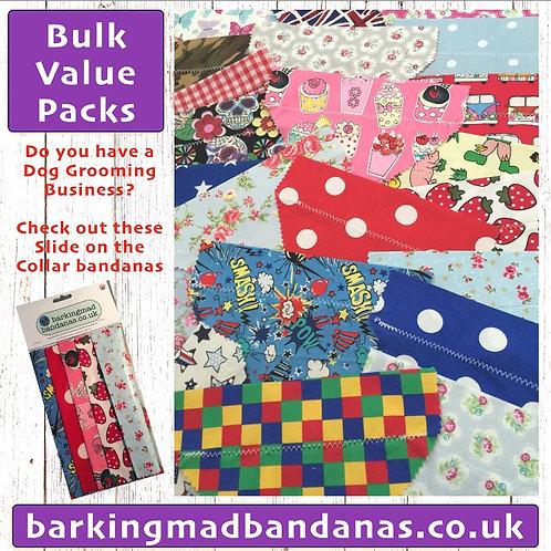Dog Groomer Bandanas, Bulk Dog Grooming Bandanas, Slider Dog Bandanas, Pink, Boy, Girls