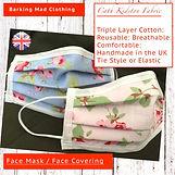 Cath Kidston Face Mask, Face Mask, Handmade UK, Clothing, 3 layers, UK Clothing