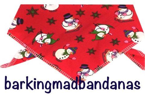 Christmas Dog Bandana, Red Snowman Christmas Design