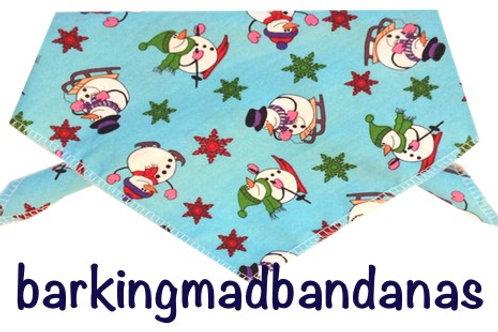 Christmas Dog Bandana, Blue Robins Christmas Design