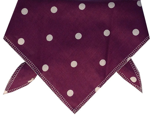 Plum Polka Dot Cotton Dog Bandana