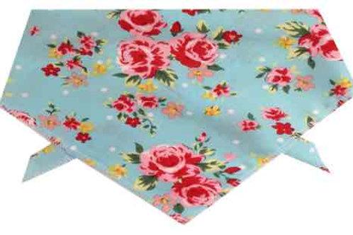 Floral Dog Bandana, Dog Clothing, Handmade UK Dog Clothing, Tie Style Floral Blue