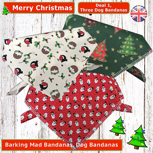 Christmas Dog Bandanas, Christmas Dog Clothing, Christmas Dog Neck Ties, Handmade UK Clothing