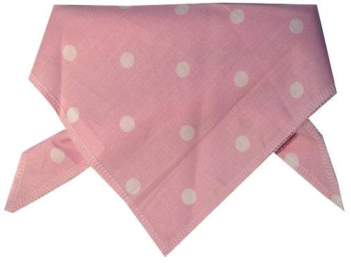 Pink Polka Dot Cotton Dog Bandana