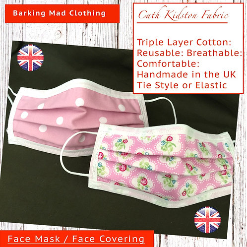 Face Mask, Cath Kidston Face Mask, Handmade Uk, Clothing, 3 Layers, Washable, Reusable