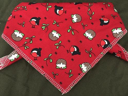 Christmas Robins Dog Bandanas, Red, Christmas Dog Clothing, Christmas Dog Clothes, Handmade UK Dog Clothing