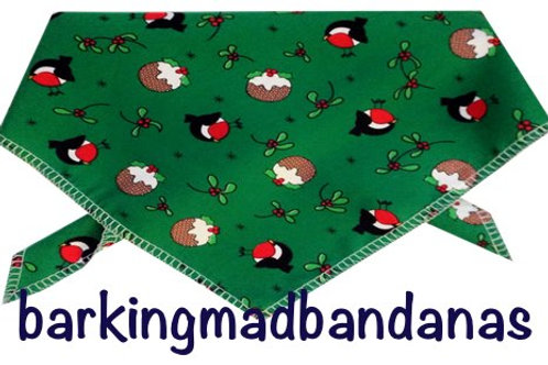 Christmas Dog Bandana, Green Robins Christmas Design