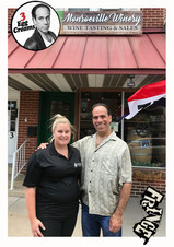 Vin Morrone visits MONROEVILLE WINERY in Hammonton! (Pictured: Kate of Monroeville Winery, Vin Morrone)