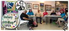 Vin Morrone visits HAMMONTON ARTS CENTER! (Pictured: Carmela, Mary, Vin Morrone, Rita, Alice, Carol, Sheila (standing), Annette)