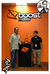 Vin Morrone visits BOOST MOBILE! (Pictured: Vin Morrone, Edgar from Boost Mobile.)