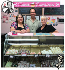 Vin Morrone visits SWEET CREATIONS in Hammonton! (Pictured: Jill - Sweet Creations, Vin Morrone, Robin -The Cookie Cutter)