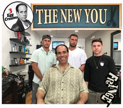 Vin Morrone visits THE NEW YOU! (Pictured: Nick, Jay, AJ, and Vin Morrone in the chair, ready for a trim!) And don't forget... Walk-ins are welcomed!