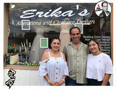 Vin Morrone visits ERIKA'S ALTERATIONS AND CLOTHING DESIGN in Hammonton! (Pictured: Erika, Vin Morrone, Sofia)