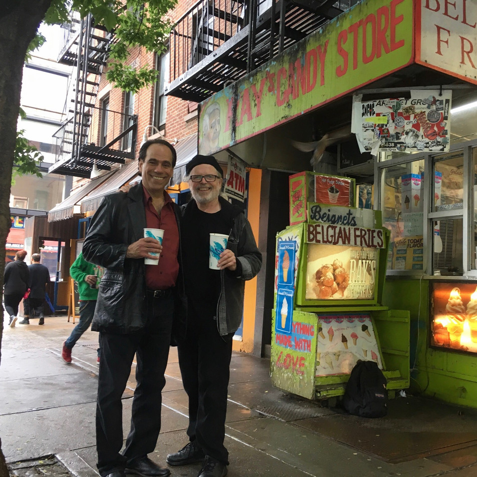 Vin Marrone (Vince Bandille) and playwright George Cameron Grant partaking in Ray's Candy Store's famous Egg Creams. The best in all of New York City!