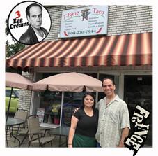 Vin Morrone visits the T-BONE TACO! (Pictured: Vin Morrone, Melissa from T-Bone Taco)