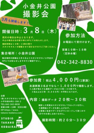 雨天のため中止!3月8日(木)小金井公園撮影会を開催します!