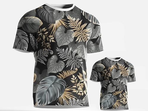 Camiseta/Body - Pai e Filho Black Flower