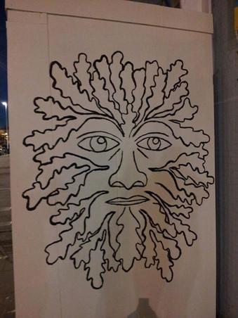 Green man mural. Acrylic